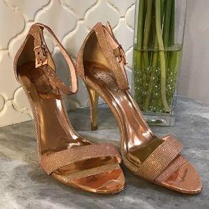 Ted Baker Rose Gold Shimmer Strappy Heels